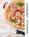 traditional spicy pizza with... | Shutterstock . vector #1200880207