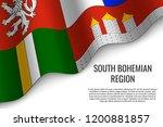waving flag of south bohemian... | Shutterstock .eps vector #1200881857