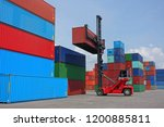 forklift reach stacker is... | Shutterstock . vector #1200885811