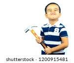 asian boy  holding hammer and...   Shutterstock . vector #1200915481