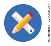 pencil and scale vector icon   Shutterstock .eps vector #1200931087