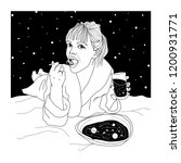 woman with food. space drawing. ... | Shutterstock .eps vector #1200931771