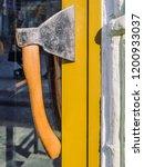 door handle made of an ax.... | Shutterstock . vector #1200933037