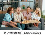 smiling old friends eating... | Shutterstock . vector #1200936391