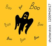 black smiling scary ghost says...   Shutterstock .eps vector #1200943417