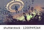 sci fi scene showing fight of... | Shutterstock . vector #1200949264