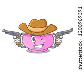 cowboy character a bowl of... | Shutterstock .eps vector #1200969391