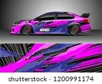 racing car wrap design vector.... | Shutterstock .eps vector #1200991174