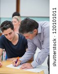 teacher making note on students ... | Shutterstock . vector #120101011