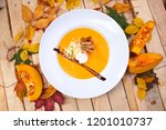 pumpkin cream soup | Shutterstock . vector #1201010737