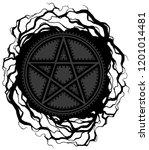 black five pointed pentagram... | Shutterstock .eps vector #1201014481