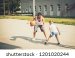 father got game. father and son ... | Shutterstock . vector #1201020244