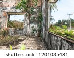 inside look of ruined building... | Shutterstock . vector #1201035481