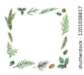 watercolor christmas frame with ... | Shutterstock . vector #1201038817