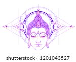 buddha face over ornate mandala ... | Shutterstock .eps vector #1201043527