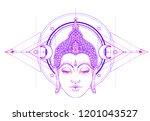 buddha face over ornate mandala ... | Shutterstock .eps vector #1201043527