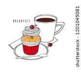 cupcake with whipped cream and... | Shutterstock .eps vector #1201045081