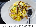 home made tagliatelle with... | Shutterstock . vector #1201052224
