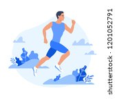 jogging man surrounded by... | Shutterstock .eps vector #1201052791