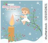 christmas angel roasting...   Shutterstock .eps vector #1201052821