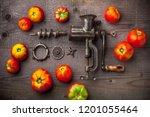 tomatoes spilled arrangement ... | Shutterstock . vector #1201055464
