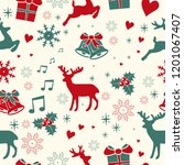 seamless christmas pattern with ... | Shutterstock .eps vector #1201067407