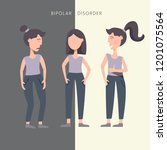 woman with bipolar mental... | Shutterstock .eps vector #1201075564