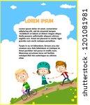 funny children riding in park... | Shutterstock .eps vector #1201081981