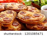 toasts with melted cheese and... | Shutterstock . vector #1201085671