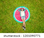 aerial view of young woman... | Shutterstock . vector #1201090771