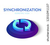 synchronization isometric icon. ... | Shutterstock .eps vector #1201091137