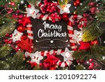 christmas composition. top view ... | Shutterstock . vector #1201092274