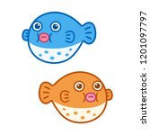 cute cartoon fugu  puffer fish  ... | Shutterstock .eps vector #1201097797