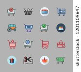 cart icon set. vector set about ... | Shutterstock .eps vector #1201109647