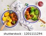 swedish traditional meatballs... | Shutterstock . vector #1201111294