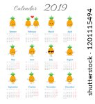 calendar 2019 with cute funny...   Shutterstock .eps vector #1201115494