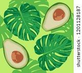 seamless exotic vector pattern... | Shutterstock .eps vector #1201128187