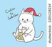 cartoon cute christmas  cat... | Shutterstock .eps vector #1201128214
