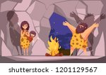 cartoon poster with caveman... | Shutterstock .eps vector #1201129567