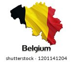 flag map of belgium. 3d... | Shutterstock . vector #1201141204