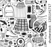 hand drawn seamless pattern... | Shutterstock .eps vector #1201141717