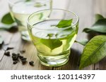 glass cup with fresh green tea | Shutterstock . vector #120114397