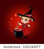 vector cartoon halloween... | Shutterstock .eps vector #1201163077