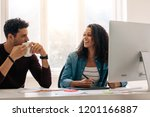 businesswoman sitting in front... | Shutterstock . vector #1201166887