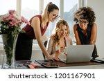 group of young businesswomen... | Shutterstock . vector #1201167901