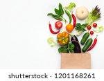 shopping vegetarian food... | Shutterstock . vector #1201168261