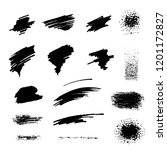 set. black brush strokes on a... | Shutterstock .eps vector #1201172827