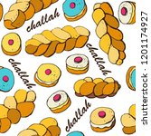 braided bread  challah   jewish ... | Shutterstock .eps vector #1201174927