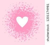 white heart  pink  rose brush... | Shutterstock .eps vector #1201174981