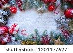 christmas border frame on white ... | Shutterstock . vector #1201177627